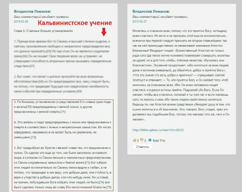 Не пропущенные комментарии Владислава Ломанова